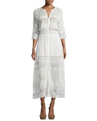 Loveshackfancy Beth Prairie Lace Button Front Maxi Dress White