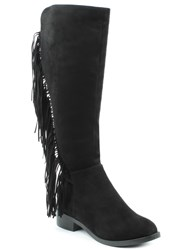 Daniel Willow Park Fringed Knee High Boots Black