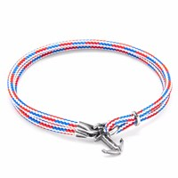 Anchor And Crew Project Rwb Red White Blue Brighton Silver Rope Bracelet White Red Blue
