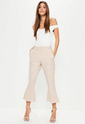 Missguided Pink Frill Hem Suit Culotte Trousers Blush