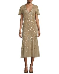 J. Mendel Floral Embroidered Tulle Midi Dress Gold