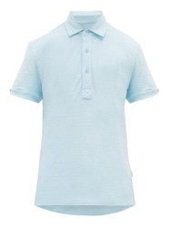 Orlebar Brown Sebastian Cotton Terry Polo Shirt Blue
