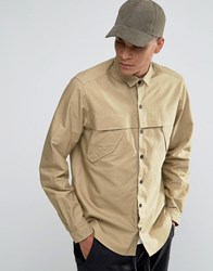 Asos Military Shirt In Stone With Storm Flaps And Long Sleeves In Regular Fit Stone