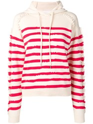 Barrie Stripe Hooded Sweater White