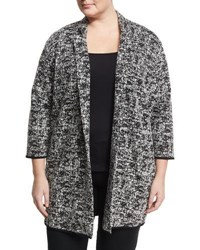 Chelsea And Theodore Plus 3 4 Sleeve Boucle Cardigan Black White