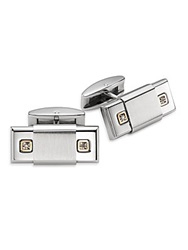 Saks Fifth Avenue Diamond 14K Yellow Gold And Stainless Steel Cuff Links Silver Gold