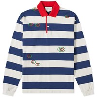 Gucci Long Sleeve Striped Logo Tee Blue