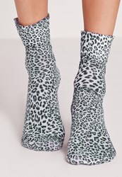 Missguided Leopard Print Ankle Socks Grey Grey