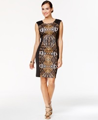 Thalia Sodi Ikat Print Sheath Dress Majestc Yellow