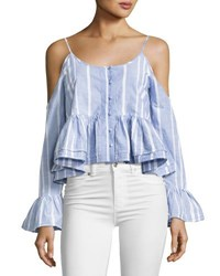Romeo And Juliet Couture Striped Cotton Cold Shoulder Cropped Blouse Blue White