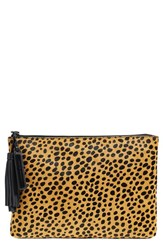 Loeffler Randall Cheetah Print Calf Hair Pouch Brown