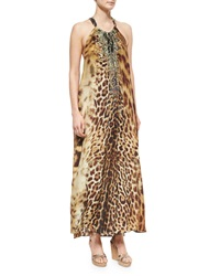 Camilla Animal Print Beaded Racerback Coverup Dress