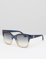 Gucci Ombre Frame Sqaure Sunglasses Shd Blue