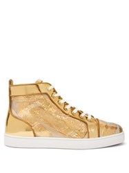 Christian Louboutin Louis Foil Embellished High Top Leather Trainers Gold