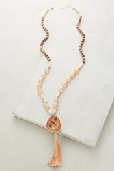 Anthropologie Tasseled Agate Lariat Necklace Peach