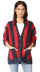 6397 Striped Kurt Cardigan Navy Dirty Red Stripe
