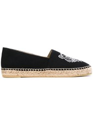 Kenzo Tiger Embroidered Espadrilles Women Cotton Leather Rubber 37 Black