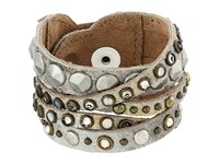 Leather Rock B513 Silver Gold Bracelet