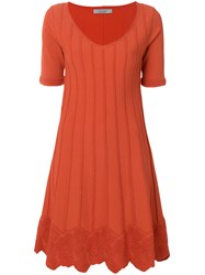 D.Exterior Short Sleeve Flared Dress Yellow And Orange