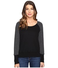Splendid Thermal Popover Black Women's Long Sleeve Pullover