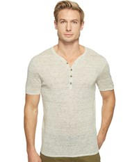 John Varvatos Heathered Short Sleeve Drop Neck Henley Sweater Y1517t1l Chalk Men's Sweater White