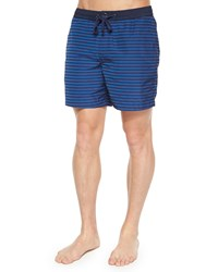 Michael Kors Tidal Striped Swim Trunks Blue