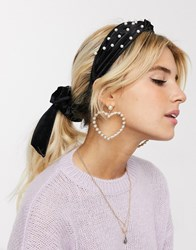 New Look Pearl Knot Head Band In Black
