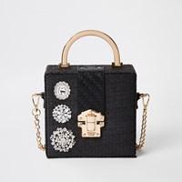 River Island Black Woven Gem Boxy Cross Body Bag