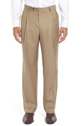 Berle Men's Pleated Solid Wool Trousers Dark Tan
