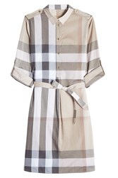 Burberry London Printed Cotton Shirt Dress Multicolor