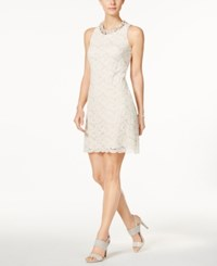 Jessica Howard Embellished Lace V Back Sheath Dress Ivory Beige