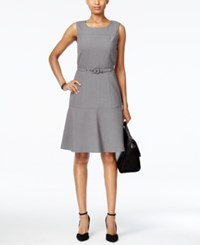 Nine West The Essential Belted Fit And Flare Dress Steel
