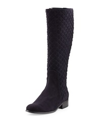 Neiman Marcus Rebel Quilted Suede Boot Navy