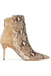 Oscar De La Renta Edelia Snake Effect Leather And Suede Boots Animal Print