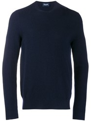 Drumohr Slim Fit Cashmere Sweater Blue