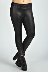 Boohoo High Waist Wet Look Legging Black
