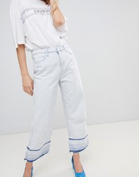 Pepe Jeans Wide Leg Crop Jean With Undone Hem Bleached Unique White