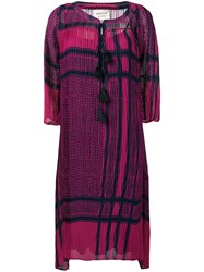 Cecilie Copenhagen Loose Tasel Detailed Dress Pink And Purple