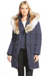 Women's Mackage Hooded Long Down Coat With Genuine Rabbit And Coyote Fur Trim