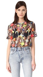 Jason Wu Floral Embroidered Top Navy Multi
