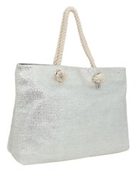 Magid Metallic Straw Tote Bag Silver
