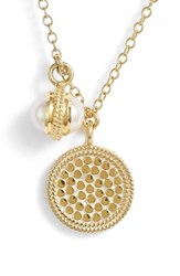 Anna Beck Double Pearl Disc Pendant Necklace Gold Pearl