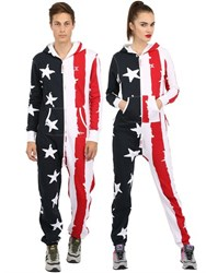 Onepiece Cotton Blend Stars And Stripes Jumpsuit