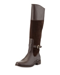 Charles David Rosy Suede And Leather Buckled Knee Boot Brown