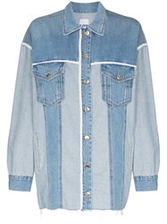 Sjyp Contrast Trim Two Tone Denim Overshirt Blue