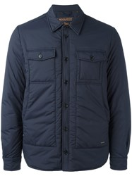 Woolrich Button Up Padded Coat Blue