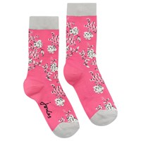 Joules Brill Bamboo Floral Ankle Socks Neon Candy
