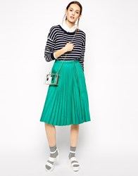 Antipodium Straight Edge Pleated Skirt With Zipper Green
