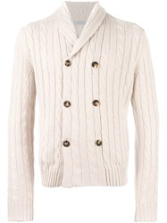 Malo Cable Knit Buttoned Cardigan Nude Neutrals