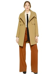 Chloe Wool Coat With Oversized Collar Beige